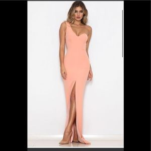 Abyss by Abby soft coral full length formal dress
